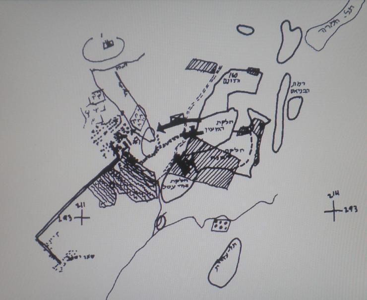 """שרטוט נוסף של ההתקפה על דן [מקור: ארכיון צה""""ל]"""