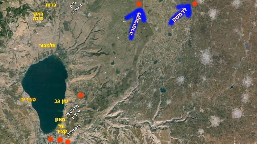 מפת הקרב של ה-7 באפריל 1967. הנקודות באדום - מקום משוער של הפלות המיגים