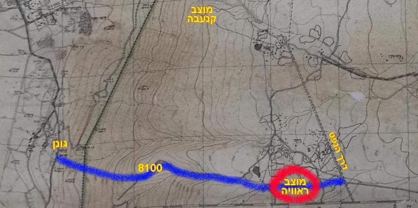 מפת ההבקעה של גדוד 266 וחטיבה 37 בציר ראוויה, החל מגונן מזרחה ועד לדרך הנפט
