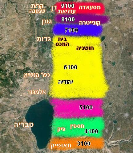 מפת גזרות המוצבים הסורים לפי מספרים סידוריים של פיקוד צפון
