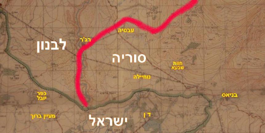 כך זה נראה במפה ישראלית לפני מלחמת ששת הימים. באדום - הגבול בין סוריה ללבנון. עג'ר משוייכת ללבנון. משולש הגבולות היה סמוך למעיין ברוך