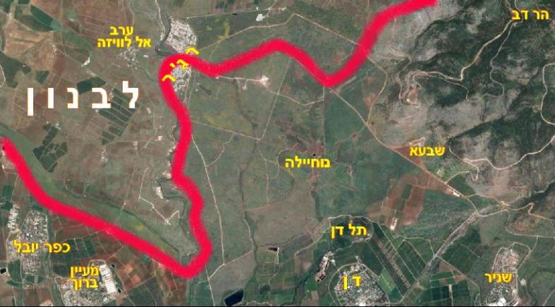 """מפת איזור """"הציפורניים של אצבע הגליל"""" בצילום לוויין. על פי כל המפות - רג'ר חצויה בין שתי מדינות"""