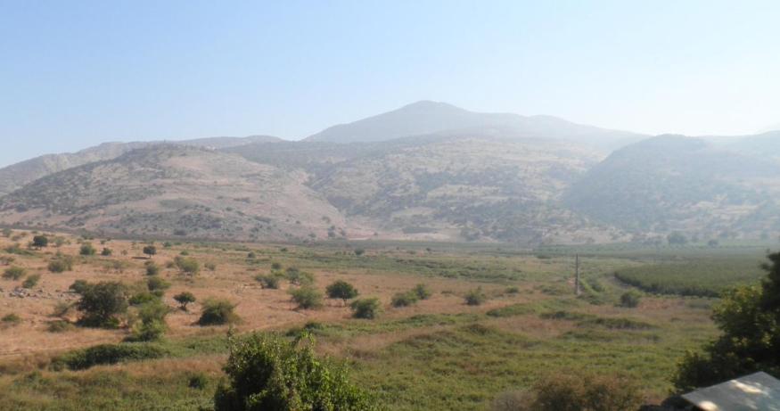 תצפית מתל דן לעבר הצד הצפוני-מזרחי [הגבעה מימין: תל חמרה]