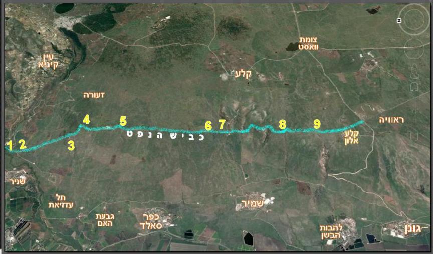מפת נסיעה כביש הנפט