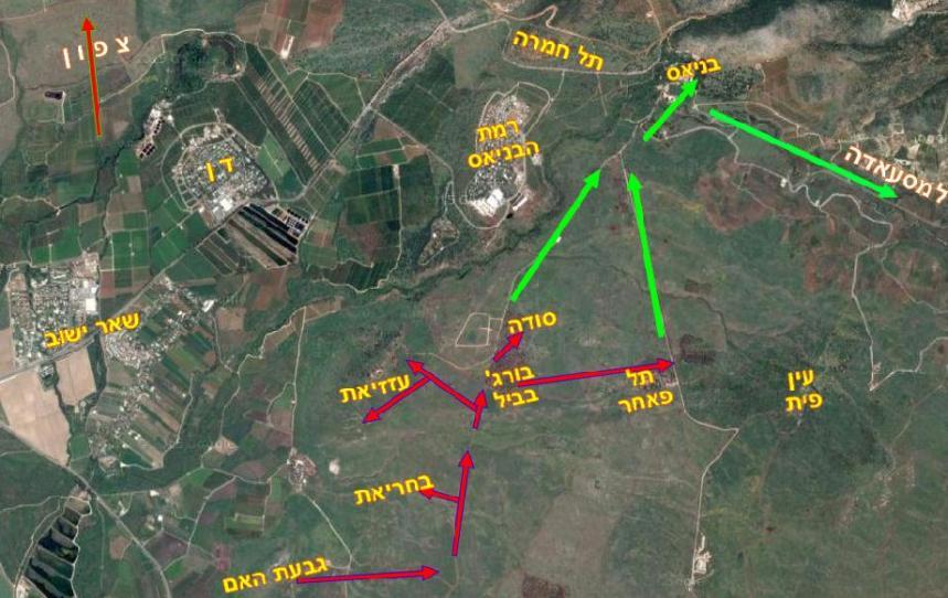 מהלכי גדוד 51 ביום ה-9 ביוני 1967 [באדום] וב-10 ביוני [ירוק]