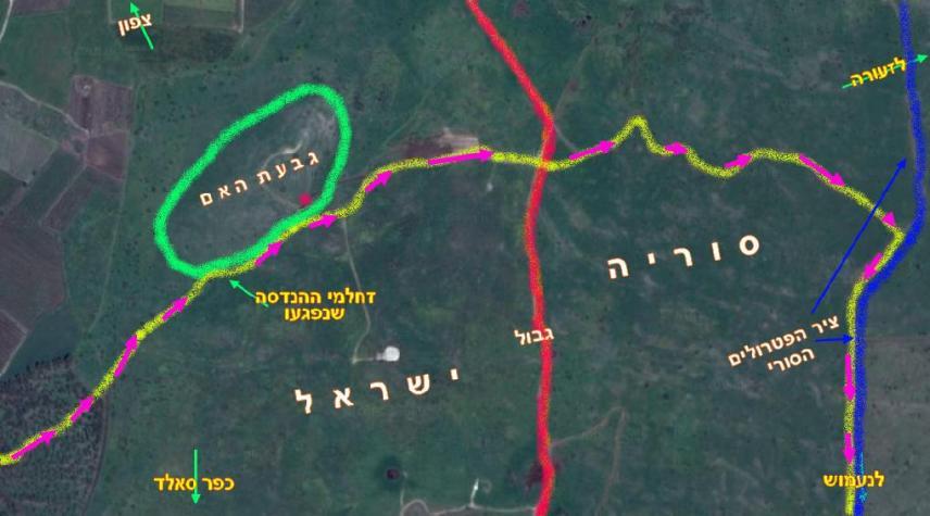 """המקום בו נפגעושני זחל""""מי ההנדסה. הנקודה באדום בגבעת האם: המקום בו נמצא כיום זחל""""ם שנפגע בקרב תל פאחר"""