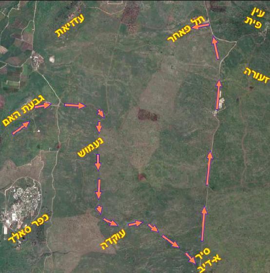 מסלול סיירת גולני מגבעת האם אל תל פאחר - דרך נעמוש וסיר א-דיב