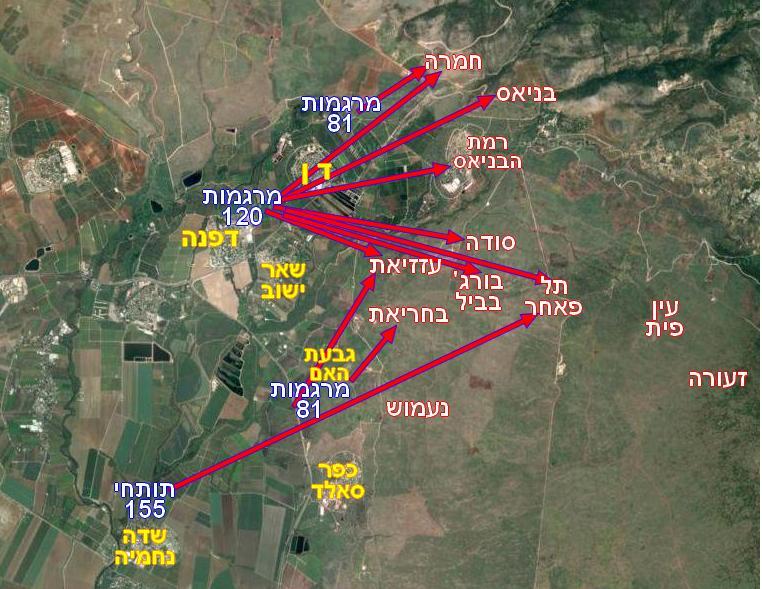 """מפת יעדי הארטילריה בסיוע לחטיבת גולני ע""""י מכמ""""ת 334 וגד""""ש"""