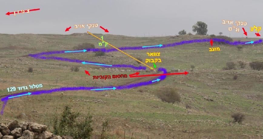 תרשים כללי של קרב גדוד 129 במבואות קלע