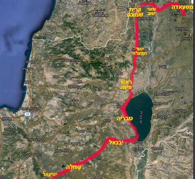המסלול שעשתה חטיבה 45 מהגזרה הירדנית [צומת קיבוץ יזרעאל] ועד למסעאדה