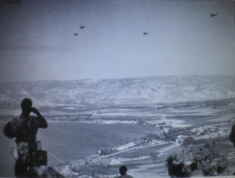 10 ביוני 67. חטיבה 80 בהליקופטרים מעל קיבוצי עמק הירדן בדרך לכיבוש דרום הרמה