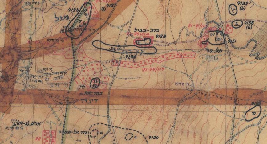 מפת מודיעין 1967 שהיתה ברשות מפקדי כוחות, האיזור שבין גבעת האם לתל פאחר. ואיפה כאן דרך ההטיה?