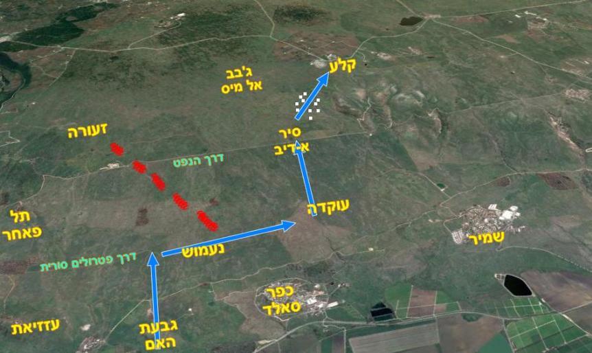 מרשם קרב גדוד 129 מגבעת האם לקלע. באדום: הדרך שפוספסה לזעורה