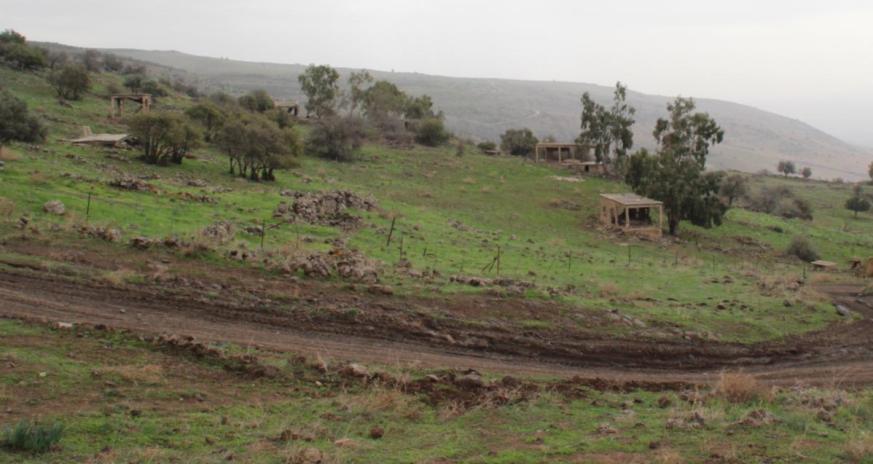 הכפר סיר א-דיב, מהדרך הזו נע גדוד 129 מזרחה [צד שמאל של התמונה] אל עבר קלע