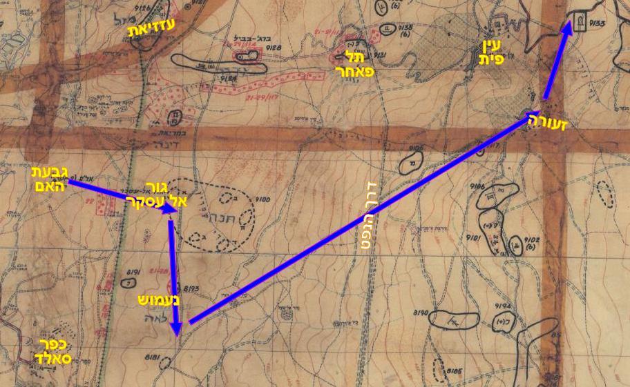 מפת תכנון חטיבה 8 למשימת ההבקעה העיקרית: מגבעת האם לנעמוש ומשם צפון-מזרח אל זעורה ולאחר מכן תפיסת הדרך למסעאדה