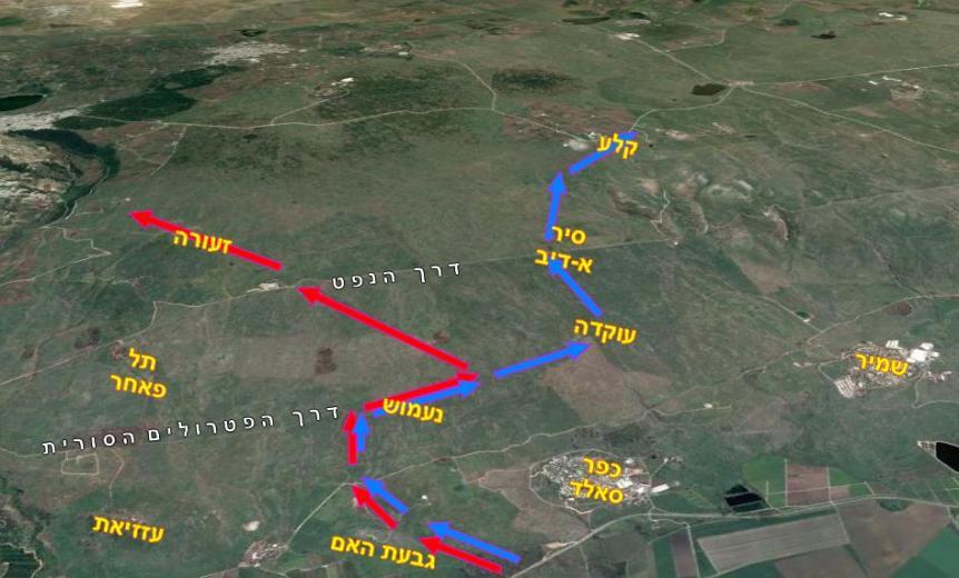 מפת תכנון[באדום] מול ביצוע של חטיבה 8
