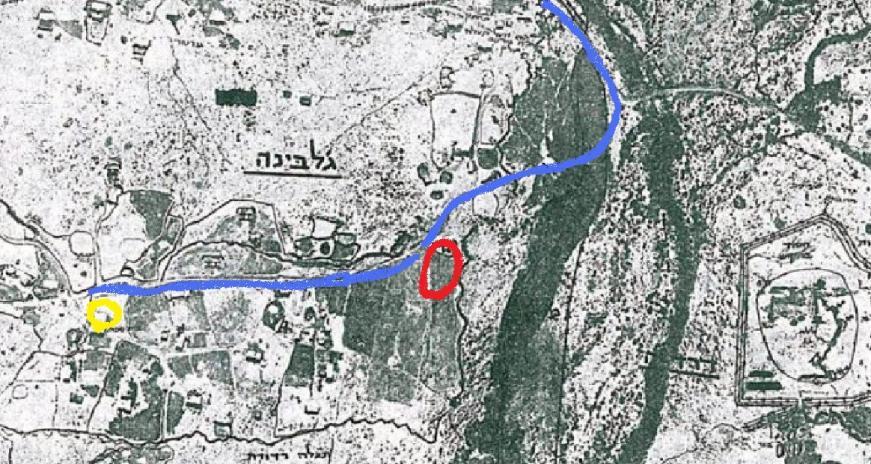"""תצ""""א של ג'לבינה ששימשה את גדוד 65 [ממזרח אל מערב]. בכחול: התנועה של הגדוד. אדום: ההיתקלות עם עמדות הגוריאנובים. צהוב: המקום בו נפצע בקר"""