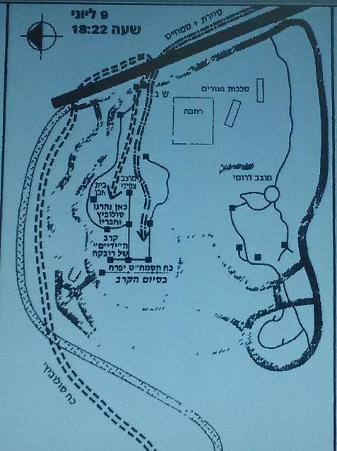 """תרשים סיום קרב תל פאחר [מקור: דו""""חות סיכום חטיבת גולני 1967]"""