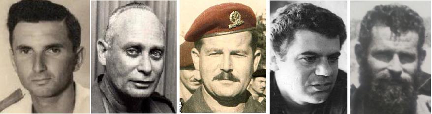 חמישה מגיבורי טעות הניווט של חטיבה 8. מימין: דני בונה, נתי הורביץ, אריה בירו דיין, אלברט מנדלר ורפי מוקדי