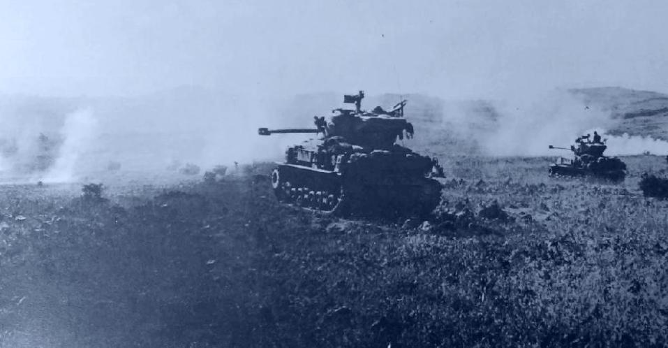 """טנקים ברמה הסורית 1967 [צילום: ארכיון צה""""ל]"""