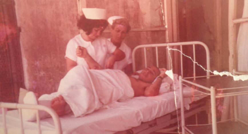 """פצוע גולני מתל פאחר בבית החולים רמב""""ם [מאלבומו של יוסי גינזבורג מגדוד 12]"""
