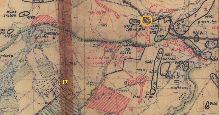 בעיגול כתום מקום משוער של טנק החוד מחטיבה 45 שנקתע בבור יקוש [מתוך מפת מודיעין של פיקוד צפון 1967]