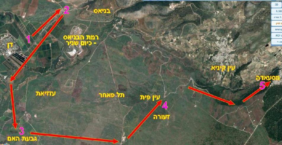 תרשים תנועה של חטיבה 45 ברמה הסורית.