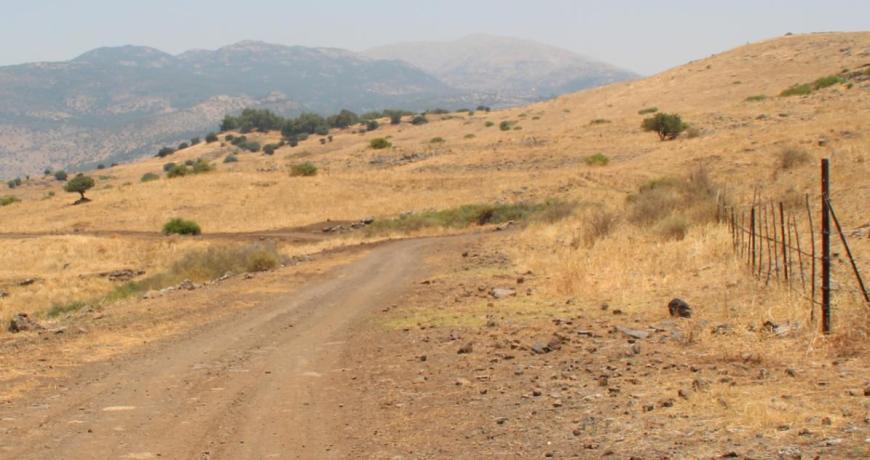דרך ההטיה לכיוון צפון ומוצב תל פאחר (הגבעה המיוערת)