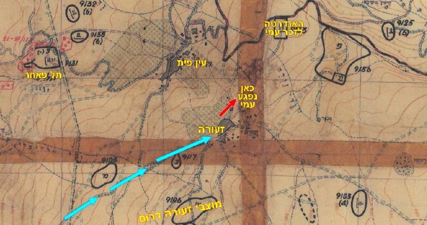 """תרשים נועת פלוגה ה' לזעורה על גבי מפת מודיעין פיקוד צפון 1967. הגעה בדרך הנפט, תנועה צפון-מזרחה [בכחול], כניסה לזעורה, המ""""פ לב טוב מושך לצפון-מזרח, שם נפגע [המיקום משוער]"""