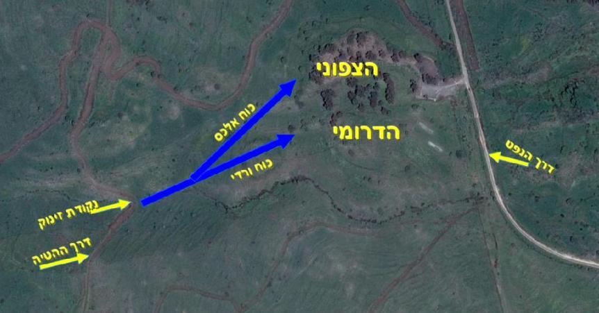 תרשים - שני הכוחות הראשונים שתקפו את תל פאחר בטיפוס רגלי תחת אש אל שני חלקי המוצב