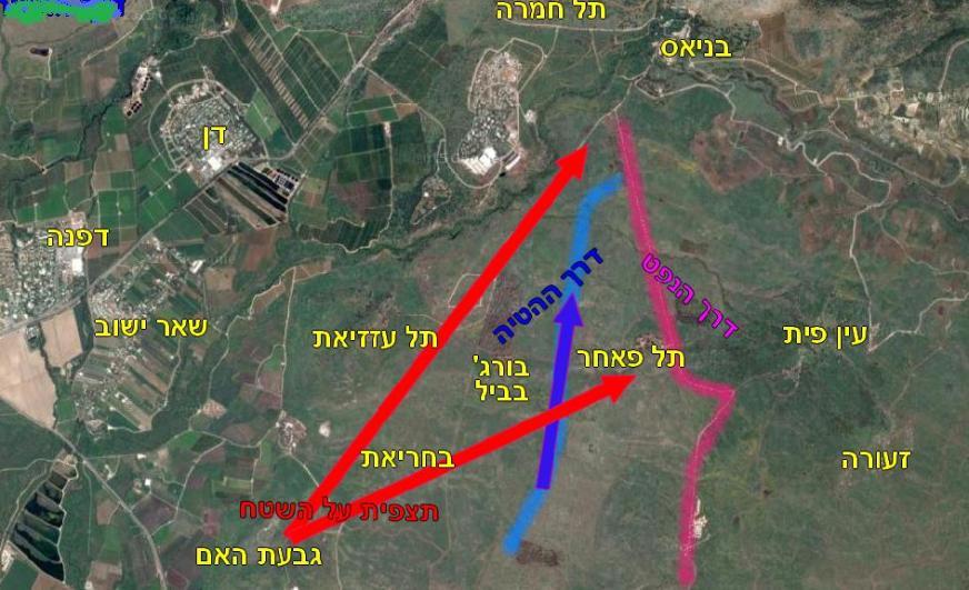 """מפת איזור גבעת האם - תל פאחר - בניאס. באדום: תצפית מגבעת האם לעבר היעדים שתוצפתו ע""""י עזרא סלע ושלמה סגל"""