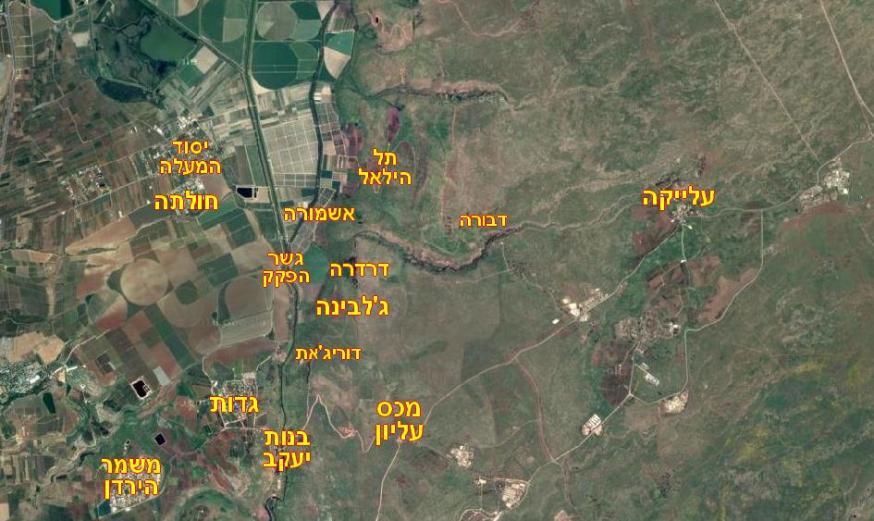 """מפה כללית של איזור הפעולה העיקרי של חטמ""""ר 3 במלחמת ששת הימים"""