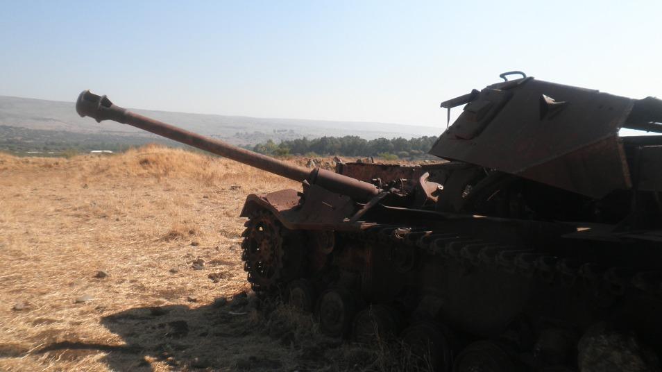 טנק פנצר סורי ליד מוצב נוחיילה שנפגע בתקריות הקרב על המים 1964