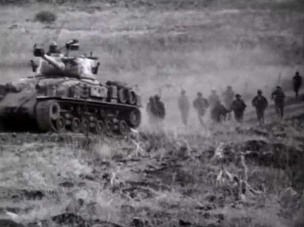הלחימה לכיבוש תל עזזיאת [מתוך סרט השחזור של קרבות מלחמת ששת הימים]