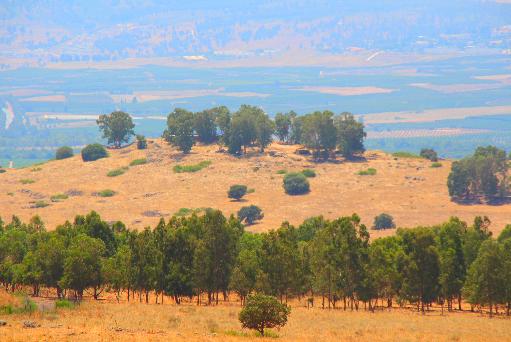 תל עזזיאת, צילום מקורב מדרך ההטיה - ממזרח למערב