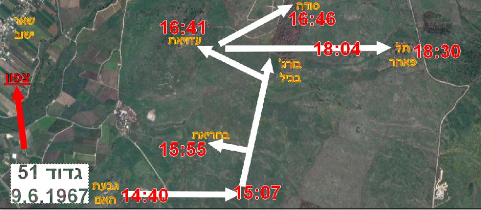 """מרשם תנועה ולו""""ז גדוד 51 ביום 9 ביוני 1967"""