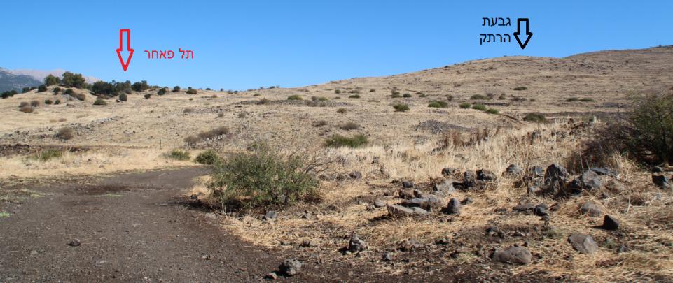 גבעת הרתק מכיוון דרך ההטיה. גדוד 12 היה מתוכנן לעבור על ידה והטנקים נועדו לחפות ממנה