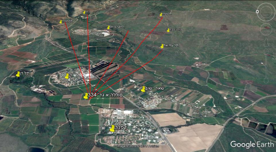 """מיקום סוללה א' של גדוד 334 ומפת טווחי יעדים: תל עזזיאת - 2.2 ק""""מ, תל פאחר 4 ק""""מ, בניאס"""
