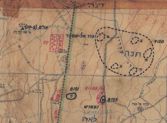 מפת מודיעין פיקוד צפון. דרך הפטרולים הישראלית מזרחית לגבעת האם
